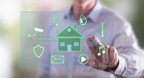 Man touching a digital smart home automation concept on a touch